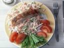 Coleslaw med stegt laks