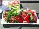 Makrel (på tur) i tomat med friske grøntsager